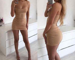 Women's Bandage Bodycon Sleeveless Party Club Short Mini Dress Women Ladies Summer Sheath Spaghetti Strap Dresses