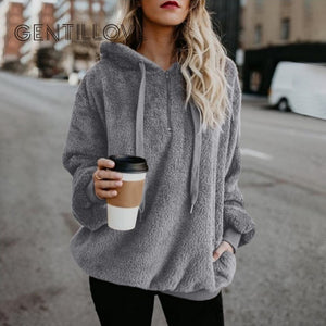 Faux Fur Fluffy Teddy Oversized Hoodies for Women Pullovers Casual Drawstring Sweatshirt Sudadera Top Clothes Plus Size 5XL 2019
