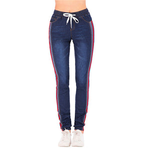 Women Large size stretch plus loose denim Jeans Elastic Plus Casual Drawstring Cropped women's nine points Cargo Jeans autumn