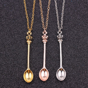Charm Tiny Tea Spoon Shape Pendant Necklace With Crown For Women