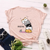 Plus Size S-5XL New Lovely Cat Letter Print T Shirt Women 100% Cotton O Neck Short Sleeve Summer T-Shirt Tops Casual Tshirt