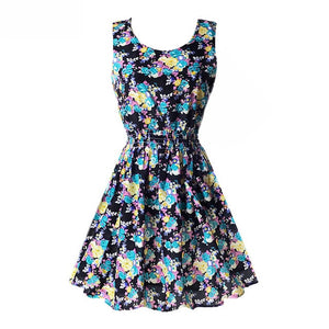 Fashion Summer Women Beach Chiffon Black Dress Sleeveless Sundress Sexy Ladies