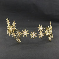 Bridal Crown Headband Tiaras Silver Crystal Stars Crowns Wedding Hair Jewelry