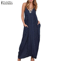 S-6XL Plus Size Summer Dress 2019 ZANZEA Women Polka Dot Print V Neck Sleeveless Sundress Loose Maxi Long Beach Vintage Dress