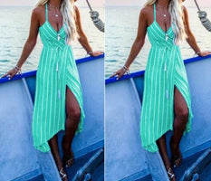 2019 Boho Women  Sleeveless Stripe Shirt Dress Split Beach Casual Midi Maxi Dress V-neck Beach Sundress