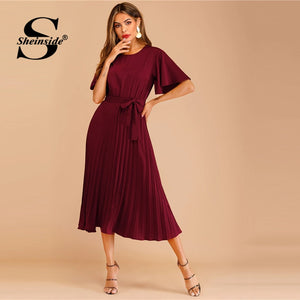 Sheinside Burgundy Button Keyhole Pleated Belted Dress Flounce Sleeve Women 2019 Spring Dresses Elegant Solid Ladies Dress