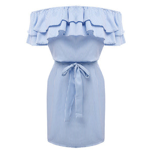 Lossky 2019 Casual Women Shirts Dress Elegant Buttons Off Shoulder Striped