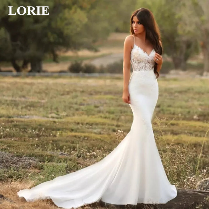 LORIE Mermaid Wedding Dress 2019 Lace Spaghetti Strap open back Zip up Bridal