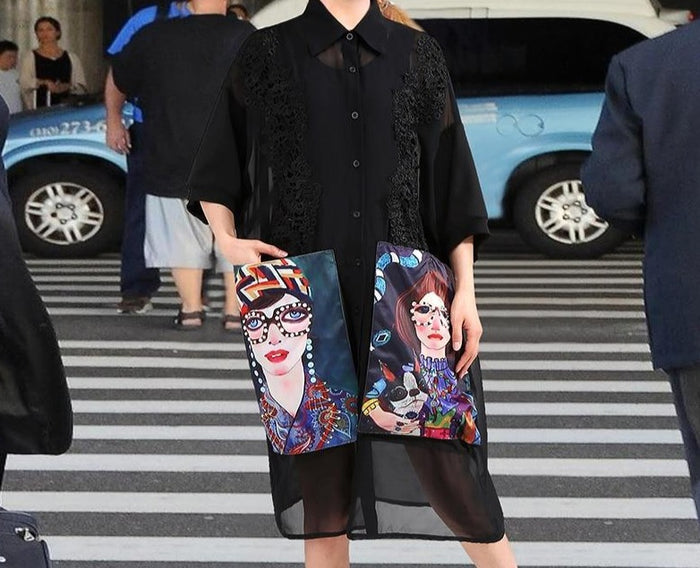 2019 Women Summer Black Casual Chiffon Shirt Dress Cartoon Pockets Half