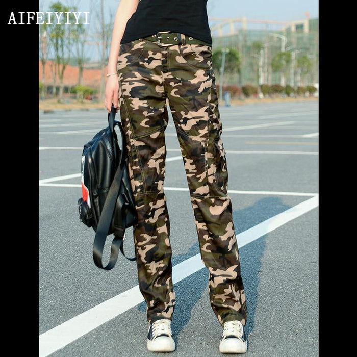 2019 Spring Women Workout Uniform Military Camouflage Cargo Pants Combat Denim