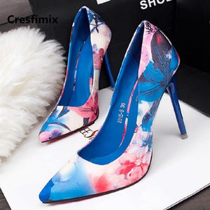 Cresfimix femmes hauts talons women fashion comfortable blue floral printed high heel