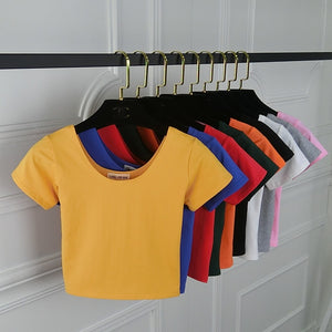 2018 Summer Women T Shirt Short Sleeve O-neck Casual Cotton Black White Red Yellow Tops Tees Female Ladies Crop Top
