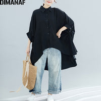 DIMANAF Plus Size  Big Size Summer Lady Solid Loose Casual  5XL 6XL