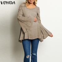 VONDA Women Pregnant Blusas Tops 2019 Autumn Blouses Shirts Sexy Flare Sleeve Casual Loose Maternity Solid Pullovers Plus Size