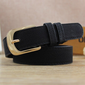 Women Antique Black Genuine Leather Belt Metal Buckle Jeans Strap Pig skin