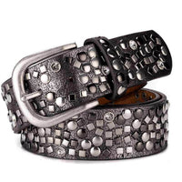 SupSindy New woman's belt punk Pin buckle Vintage Dot Rivet luxury lady's original leather belts for women waistband female belt