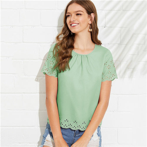 Gathered Neck Scalloped Laser Cut Insert Blouse Women Solid Top 2019