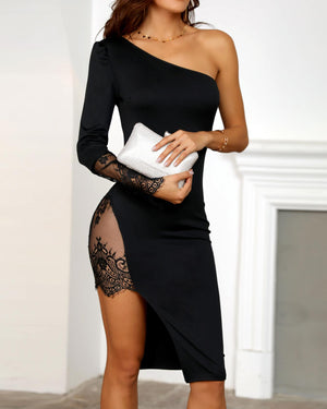 2019 Female Sexy One Shoulder Lace Insert High Slit Bodycon Dress Women Long Sleeve