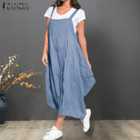 ZANZEA Summer Women Strappy Pockets Striped Dress Loose Casual Overalls