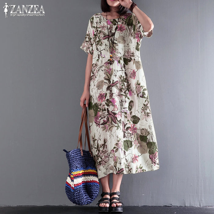 Dresses Vintage  Floral Print Vestidos Summer Sundress Ladies Maxi Dress