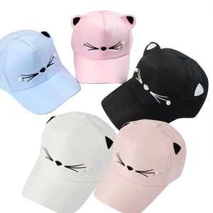 Sleeper #501 2019 NEW FASHION Spring Fashion Tide Pearl Wild Cute Student Cat Ears Visor Baseball Cap girls casual Free Shipping
