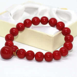 New design red artificial coral round beads 10mm unique design bracelet
