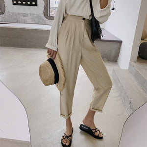 BGTEEVER Casual High Waist Pencil Linen Pants Women 2019 Solid Ankle-length Pants OL Elegant Trousers Female pantalon Summer