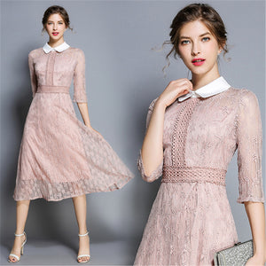 2019 Fashon Women Elegant Sweet Hallow Out office Lace Dress A-Line Sexy Party Princess
