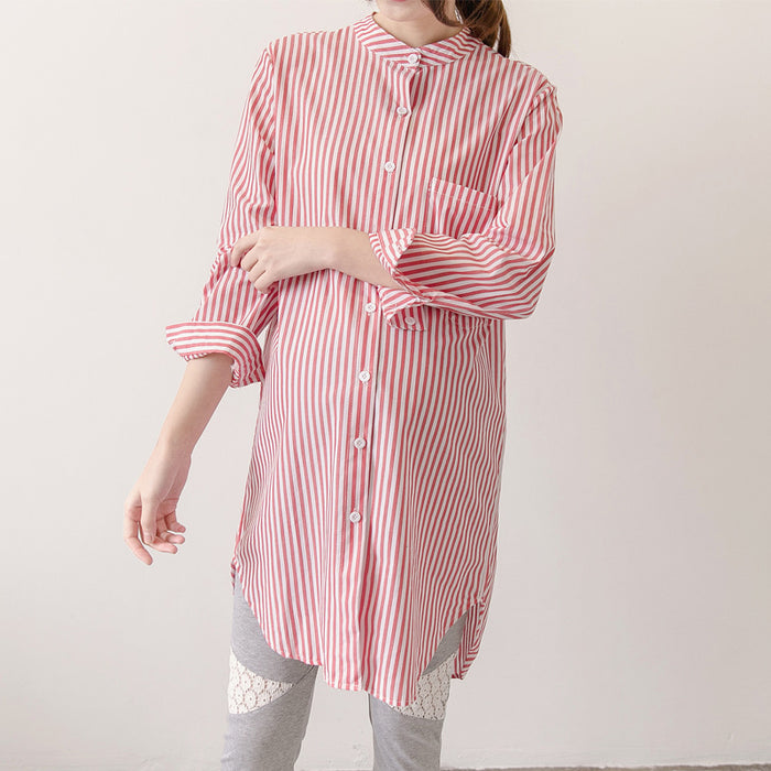 2019 Spring Fall Pregnancy Blouse Fashion Stripe Long Tops Plus Size Women