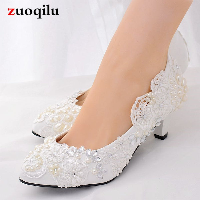 Classice white Lace rhinestone pearl wedding shoes woman pumps women shoes high heels low bridal shoes female shoes #65