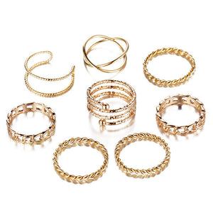 New Trendy Geometric Gold Silver Rings Set for Women Vintage Antique Twist Knuckle Finger Ring Party