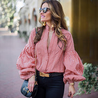 Fashion Women Pulf Long Sleeve Loose Blouse Casual Shirt Summer Red Blue