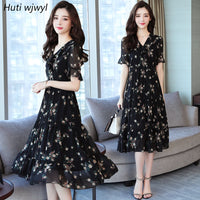Summer Black Vintage Floral Chiffon Midi Sundress 2019 Elegant Women Plus Size Boho Dresses Party Short Sleeve Runway Vestidos