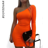 BOOFEENAA Sexy One Shoulder Long Sleeve Bodycon Mini Dress Orange Green Neon