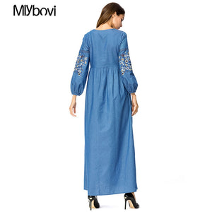 2018 Women Islamic Dress Fashion Women Casual Maxi Embroidery Dress Blue Vintage Muslim Dress Abaya Turkish Caftan Dubai Dresses