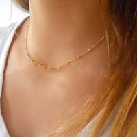 Fashion Thin Choker Necklace Dainty Gold Silver Color Bead Necklace For Women