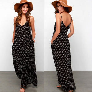 Dot Print V Neck Sleeveless Sundress Loose Maxi Long Beach Bohemian Vintage Dress