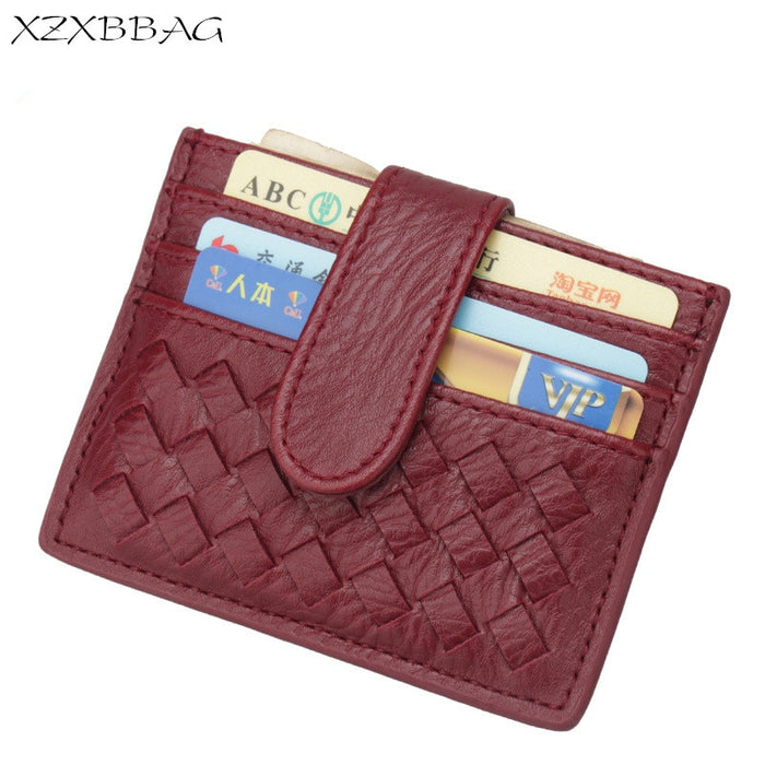 XZXBBAG PU Slim Woven Card Case Bag Women Small Wallet ID Credit Cards Holder Covers Female Cards Pack Cash Pocket Cardholder