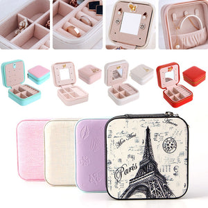 Fashion Cosmetic Leather Organizer Display Jewelry Box Necklace Ring Storage Case