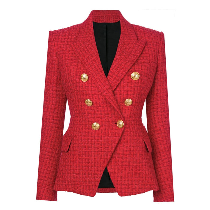 Designer Blazer Women's Double Breasted Metal Buttons Wool Coat Blazer Jacket