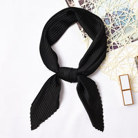 Square Crinkle Small Silk Neck Scarf for Women Crumple Bandana Neck wear Pleated Print Foulard Female Neck Scarf HOT [3926]