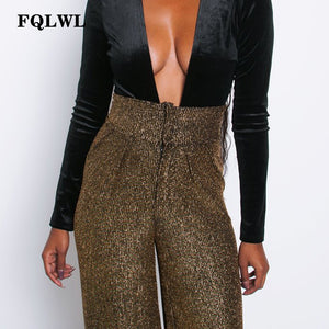 FQLWL Glitter Stretch Wide Leg Pants Women Zipper Elastic High Waist Flare Pants