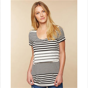 Fashion Womens Maternity T-Shirt Blouse Summer Breastfeeding Striped T-Shirt Short