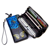 Ladies Embossing Wallet Female With Genuine Leather Wristlet Card ID Holders