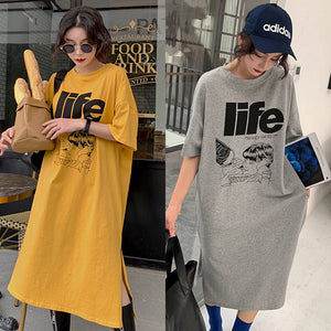 Korean Style Loose T-Shirt Dresses Plus Size Casual Life Letter Cartoon Print Casual