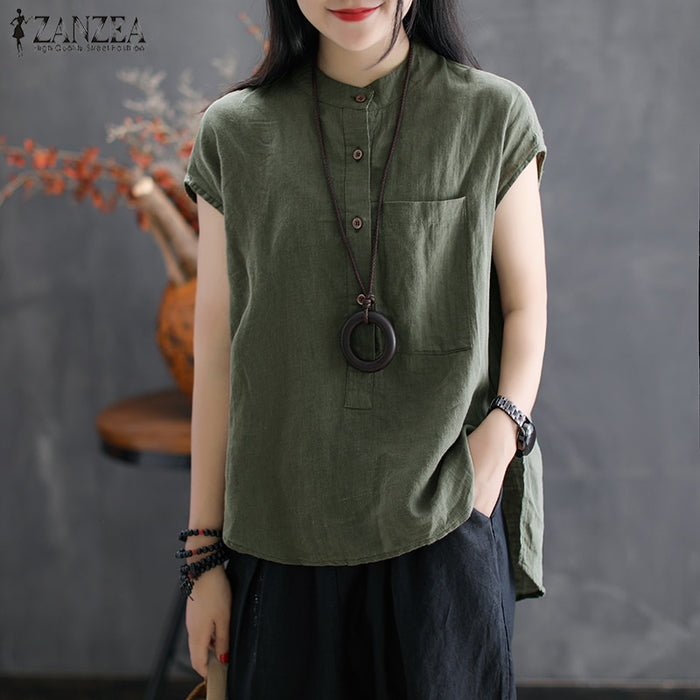 2019 ZANZEA Women Summer Blouse Work OL Blusas Solid Cotton Linen Shirt Casual Short Sleeve Tops Camisas Mujer Plus Size Blouse