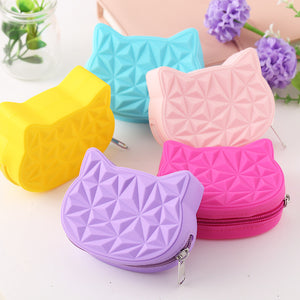 2019 New Brand Cute Cat Women Silicone Short Wallet Girls Mini Coin