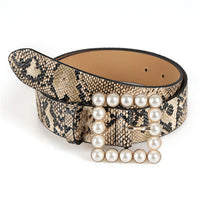 Leather Belt Women's Fashion Wild Solid Color Belt Alloy Square Buckle Inlaid