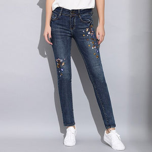 Garemay Skinny Embroidered Jeans Woman Spring 2019 Denim Stretch Women's Jeans Embroidery Mujer Fashion Slim Jeans for Women