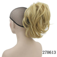 Soowee Short Curly Hair Piece Gray Claw Ponytail Synthetic Hair Blonde Clip In Hair Extensions Hairpiece Pony Tail
